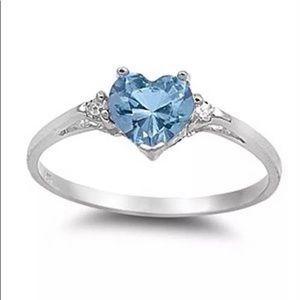 🌺 Aquamarine Heart & White Sapphire accents .925